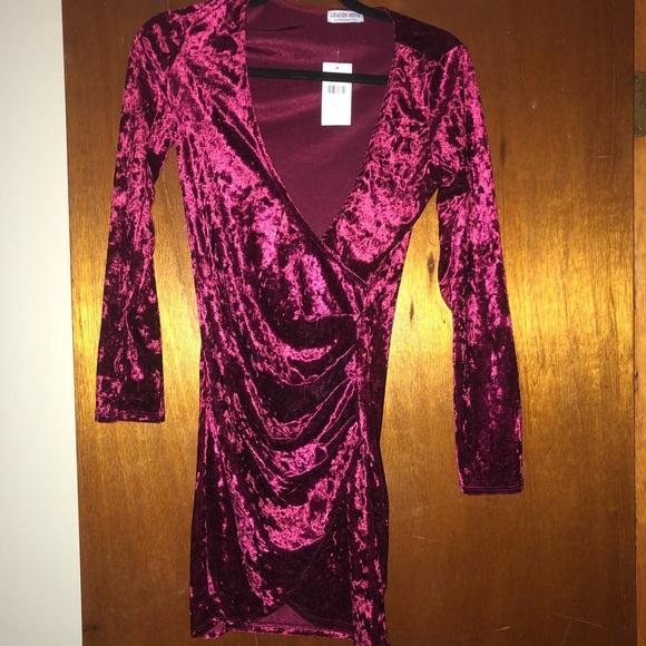 3e0d93581bb Fashion Nova Velvet Burgundy Long Sleeved Dress